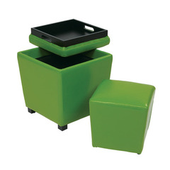 Buy Office Star 2 Piece Green Vinyl Ottoman Set on sale online