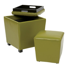 Buy Office Star 2 Piece Kiwi Green Eco Leather Ottoman Set on sale online