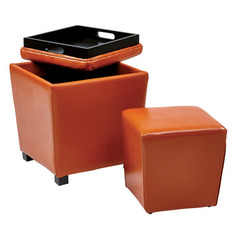 Buy Office Star 2 Piece Orange Vinyl Ottoman Set on sale online