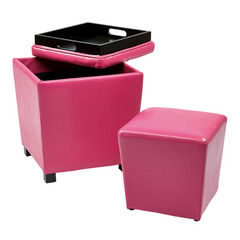 Buy Office Star 2 Piece Pink Vinyl Ottoman Set on sale online