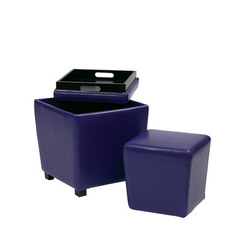 Buy Office Star 2 Piece Purple Vinyl Ottoman Set on sale online