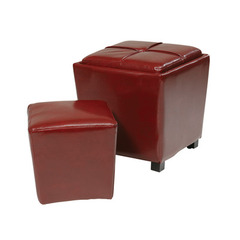 Buy Office Star 2 Piece Red Eco Leather Ottoman Set on sale online