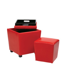 Buy Office Star 2 Piece Red Vinyl Ottoman Set on sale online