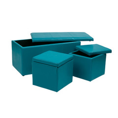 Buy Office Star 3 Piece Blue Vinyl Ottoman Set on sale online