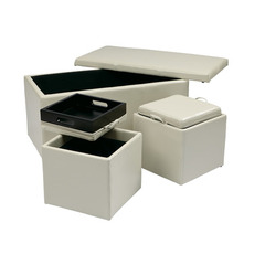 Buy Office Star 3 Piece Cream Eco Leather Ottoman Set on sale online