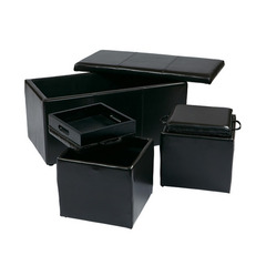 Buy Office Star 3 Piece Espresso Eco Leather Ottoman Set on sale online