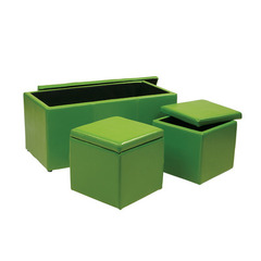 Buy Office Star 3 Piece Green Vinyl Ottoman Set on sale online