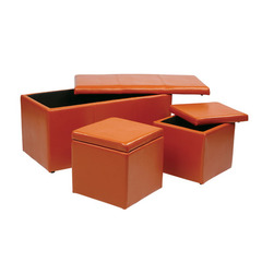 Buy Office Star 3 Piece Orange Vinyl Ottoman Set on sale online