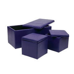 Buy Office Star 3 Piece Purple Vinyl Ottoman Set on sale online
