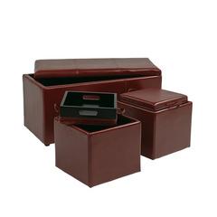 Buy Office Star 3 Piece Red Eco Leather Ottoman Set on sale online