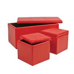 Buy Office Star 3 Piece Red Vinyl Ottoman Set on sale online