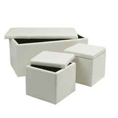 Buy Office Star 3 Piece White Vinyl Ottoman Set on sale online
