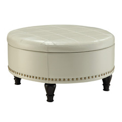 Buy Office Star Augusta Storage Ottoman in Cream Eco Leather on sale online