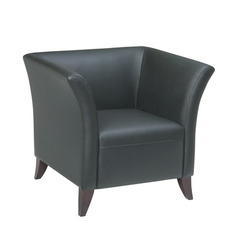 Buy Black Leather Club Chair w/ Cherry Finish on sale online