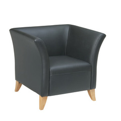 Buy Office Star Black Leather Club Chair w/ Maple Finish on sale online