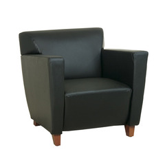 Buy Office Star Black Leather Club Chair w/ Padded Seat and Back & Cherry Legs on sale online