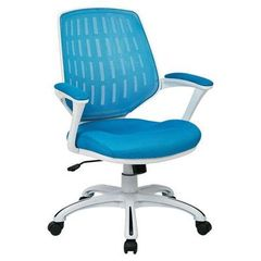 Buy Office Star Calvin Office Chair w/ White Frame & Arms - Blue Mesh Fabric on sale online