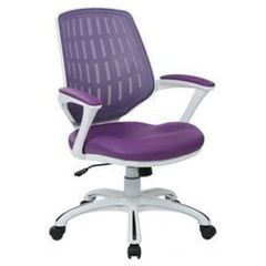 Buy Office Star Calvin Office Chair w/ White Frame & Arms - Purple Mesh Fabric on sale online