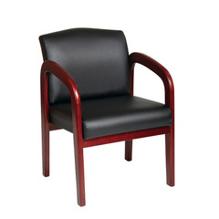 Buy Office Star Cherry Finish Wood Visitor Chair w/ Black Triangle Fabric on sale online