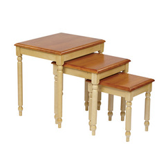 Buy Office Star Country Cottage 17x21 3 Piece Nesting Tables in Antique White & Cherry on sale online