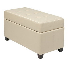 Buy Office Star Cream Faux Leather Storage Ottoman on sale online