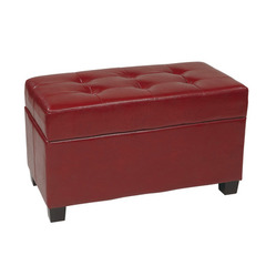Buy Office Star Crimson Red Faux Leather Storage Ottoman on sale online