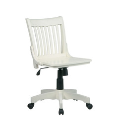 Buy Office Star Deluxe Armless Wood Bankers Chair w/ Wood Seat in Antique White on sale online