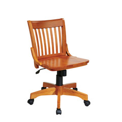 Buy Office Star Deluxe Armless Wood Bankers Chair w/ Wood Seat in Fruit Wood on sale online
