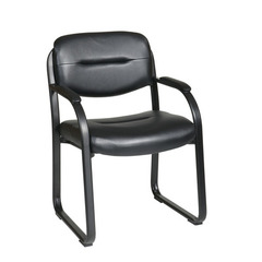 Buy Office Star Deluxe Faux Black Leather Visitors Chair w/ Sled Base on sale online