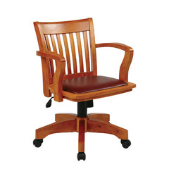 Buy Office Star Deluxe Wood Banker Chair w/ Burgundy Vinyl Padded Seat in Fruit Wood on sale online