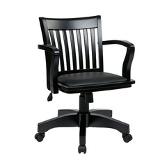 Buy Office Star Deluxe Wood Banker Chair w/ Vinyl Padded Seat in Black on sale online