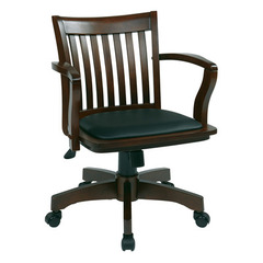 Buy Office Star Deluxe Wood Banker Chair w/ Vinyl Padded Seat in Espresso on sale online