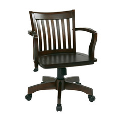 Buy Office Star Deluxe Wood Banker Chair w/ Wood Seat in Espresso Wood on sale online