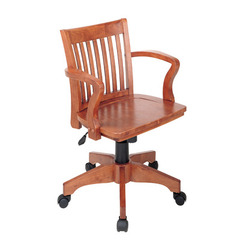 Buy Office Star Deluxe Wood Banker Chair w/ Wood Seat in Fruit Wood on sale online