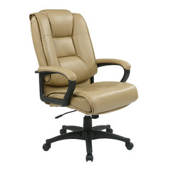 Buy Office Star Executive High Back Tan Glove Soft Leather Chair w/ Padded Loop Arms on sale online