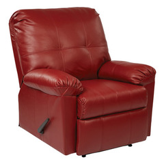 Buy Office Star Kensington Recliner in Crimson Red Eco Leather on sale online