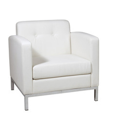 Buy Office Star Wall Street Arm Chair in White Faux Leather on sale online