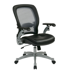 Buy Office Star Professional Light AirGrid Chair w/ Leather Seat & Platinum Finish Accents on sale online