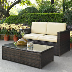 Buy Crosley Furniture Palm Harbor 2 Piece Outdoor Wicker Seating Set - Loveseat & Glass Top Table on sale online