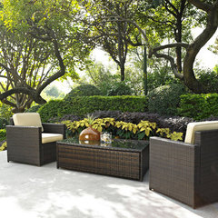 Buy Crosley Furniture Palm Harbor 3 Piece Outdoor Wicker Seating Set - Two Outdoor Wicker Chairs and Glass Top Table on sale online
