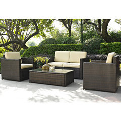 Buy Crosley Furniture Palm Harbor 4 Piece Outdoor Wicker Seating Set - Loveseat, Two Chairs & Glass Top Table on sale online