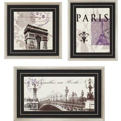 Buy Paragon Paris Stamps 25x21 Framed Wall Art (Set of 3) on sale online