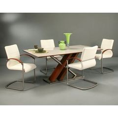 Buy Pastel Furniture Charlize 5 Piece 71x36 Rectangular Dining Room Set in Walnut on sale online