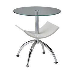 Buy Pastel Furniture Ingardia 20 Inch Round End Table w/ Glass Top in White on sale online