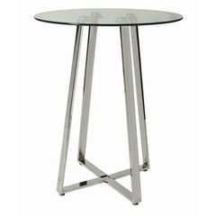 Buy Pastel Furniture Nostalgia 36x36 Round Pub Table w/ Glass Top in Chrome on sale online