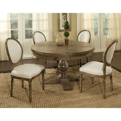 Buy Pastel Furniture Utopia 5 Piece 52x52 Round Dining Room Set in Charcoal and Beige on sale online
