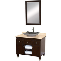 Buy Wyndham Collection Premiere 36 Inch Ivory Marble Top Single Sink Vanity Set in Espresso on sale online