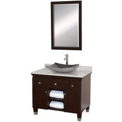 Buy Wyndham Collection Premiere 36 Inch White Carrera Marble Top Single Sink Vanity Set in Espresso on sale online