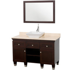 Buy Wyndham Collection Premiere 48 Inch Ivory Marble Top Single Sink Vanity Set in Espresso on sale online