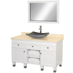 Buy Wyndham Collection Premiere 48 Inch Ivory Marble Top Single Sink Vanity Set in White on sale online